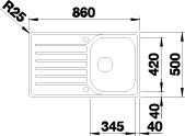 Blanco LANTOS 45 S-IF  nerez kartáčovaný oboustranné provedení  s excentrem