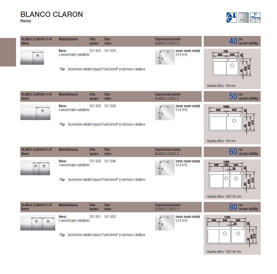 Blanco CLARON 8 S-IF InFino Nerez hedvábný lesk dřez vlevo s táhlem