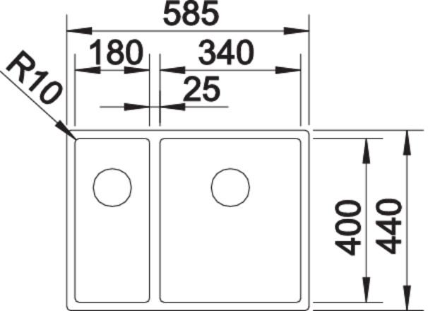 Blanco CLARON 340/180 IF InFino Nerez hedvábný lesk dřez vpravo bez táhla