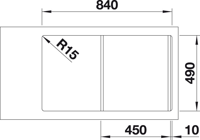 Blanco DIVON II 45 S-IF InFino Nerez hedvábný lesk dřez vlevo s excentrem