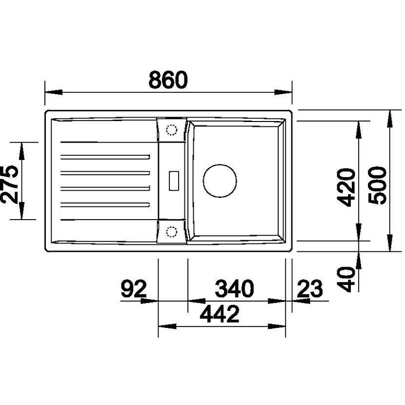 blanco lexa 45 s silgranit aluminium oboustrann proveden s excentrem. Black Bedroom Furniture Sets. Home Design Ideas