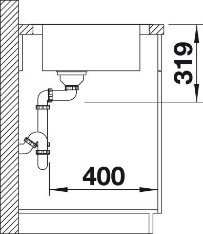 Blanco MEDIAN 45 S IF Nerez kartáčovaný dřez vpravo s excentrem