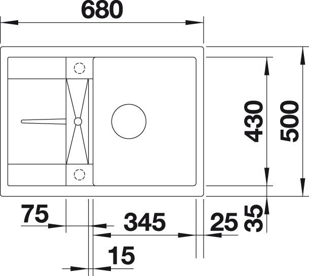 Blanco METRA 45 S Compact Silgranit jasmín oboustranné provedení s excentrem