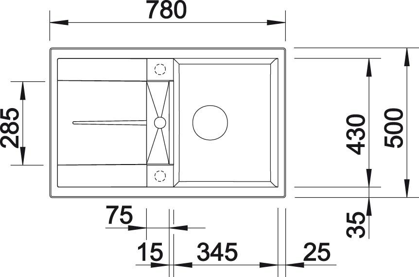 Blanco METRA 45 S Silgranit aluminium oboustranné provedení s excentrem