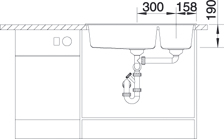 Blanco METRA 9 Silgranit jasmín dřez vlevo