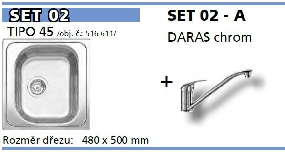 SET Tipo 45 přírodní lesk + DARAS chrom