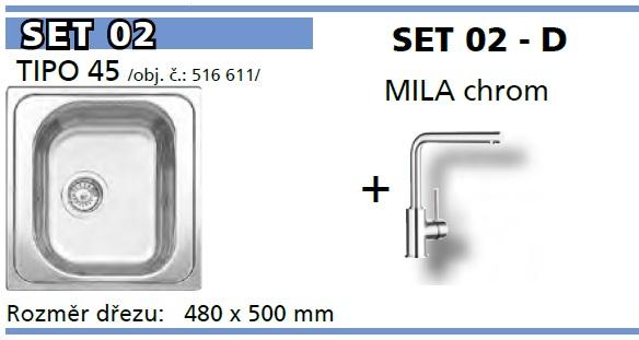 SET Tipo 45 přírodní lesk + Mila chrom