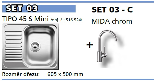 SET Tipo 45 S Mini přírodní lesk +  Mida chrom
