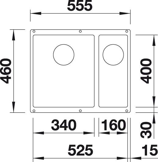 Blanco SUBLINE 340/160 U Silgranit jasmín bez táhla dřez vlevo