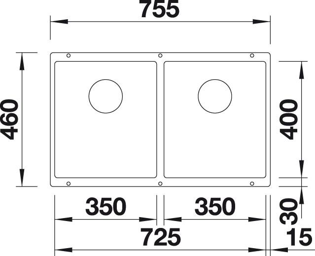 Blanco SUBLINE 350/350 U Silgranit tartufo  s táhlem