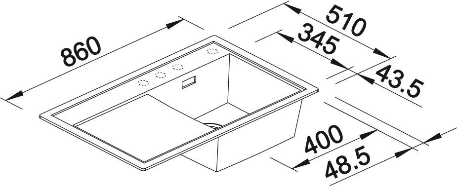 Blanco ZENAR 45 S Silgranit aluminium dřez vlevo s excentrem a skleněnou krájecí deskou