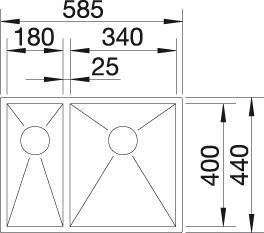 Blanco ZEROX 340/180 IF InFino Nerez hedvábný lesk dřez vpravo bez táhla